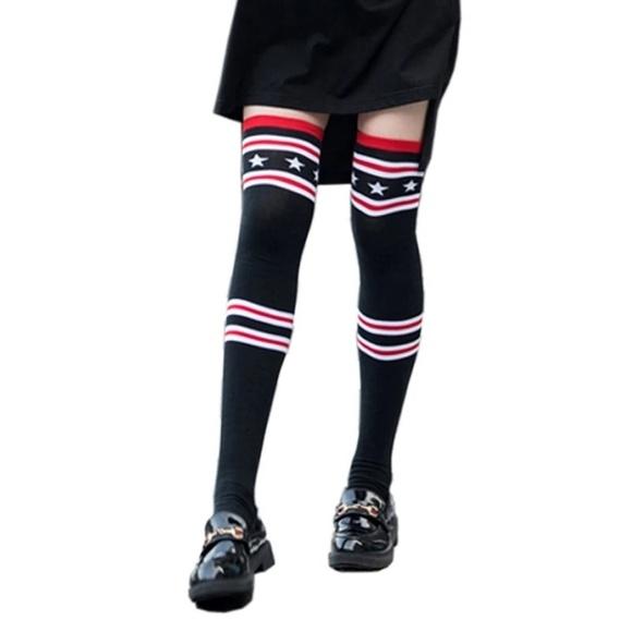 d8923a9f43b NEW Black Red White Stripes Stars Thigh High Socks
